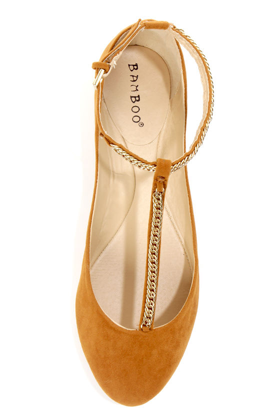 Bamboo Zelous 01 Chestnut Chain T-Strap Ballet Flats at Lulus.com!