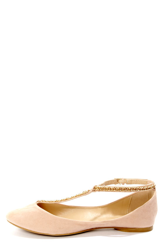 3703fab5be734a Bamboo Zelous 01 Nude Chain T-Strap Ballet Flats -  26.00