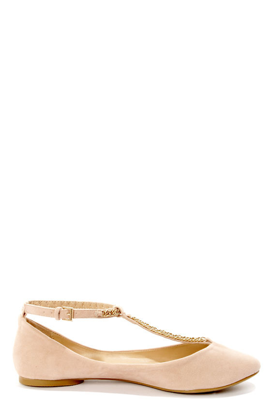 Bamboo Zelous 01 Nude Chain T-Strap Ballet Flats at Lulus.com!
