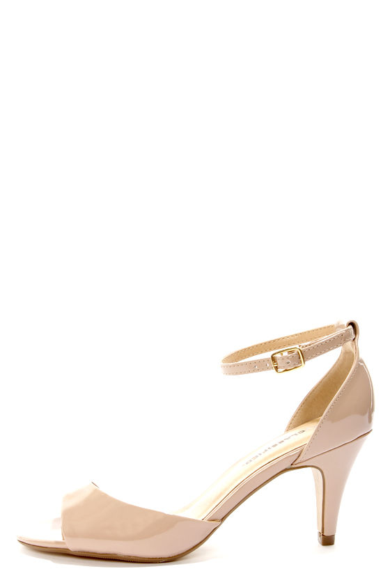 City Classified Tupper Dark Beige Patent Peep Toe Kitten Heels ...