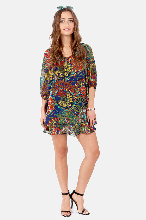 Lucy Love Gabriella Multi Circle Print Dress at Lulus.com!