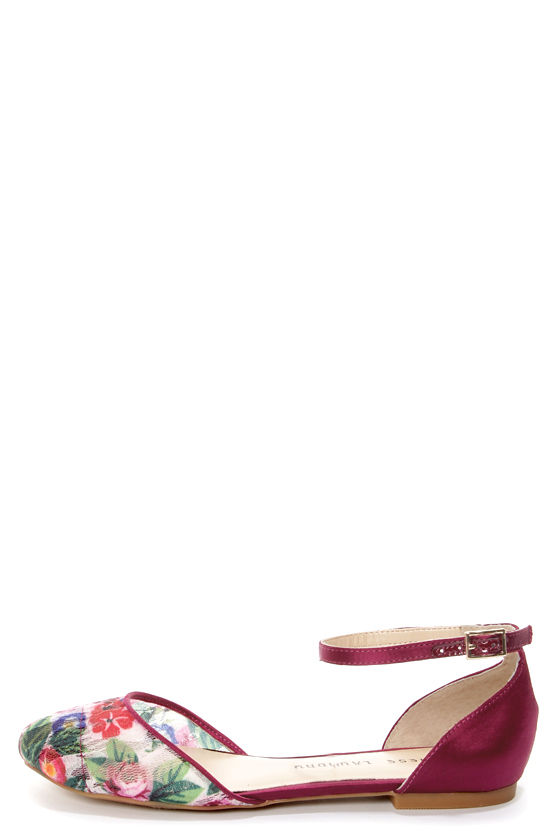 Chinese Laundry Outlast Floral and Burgundy D'Orsay Flats at Lulus.com!