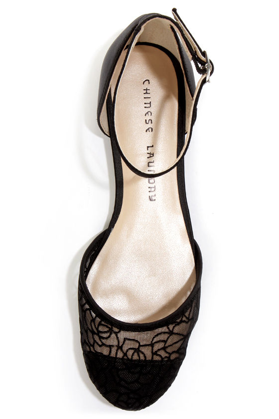 Chinese Laundry Outlast Black Rose Lace D'Orsay Flats at Lulus.com!