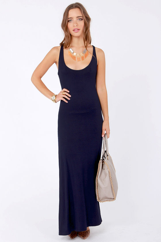 Lucy Love Racer Back Dress - Navy Blue Dress - Maxi Dress - $61.00