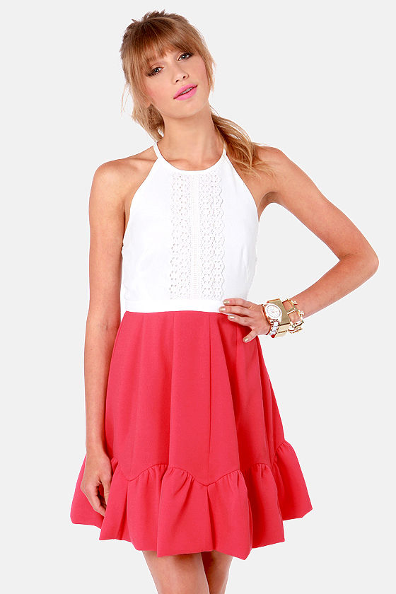 Crochet of Life Ivory and Berry Pink Lace Dress at Lulus.com!