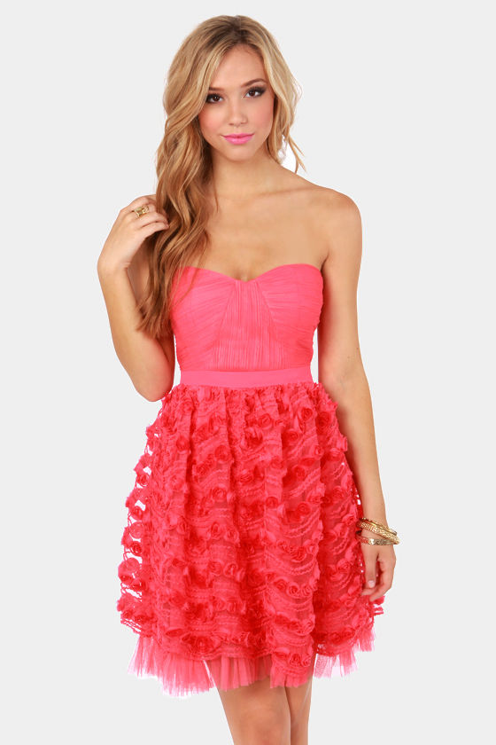 Pretty Coral Pink Dress - Strapless Dress - $88.00