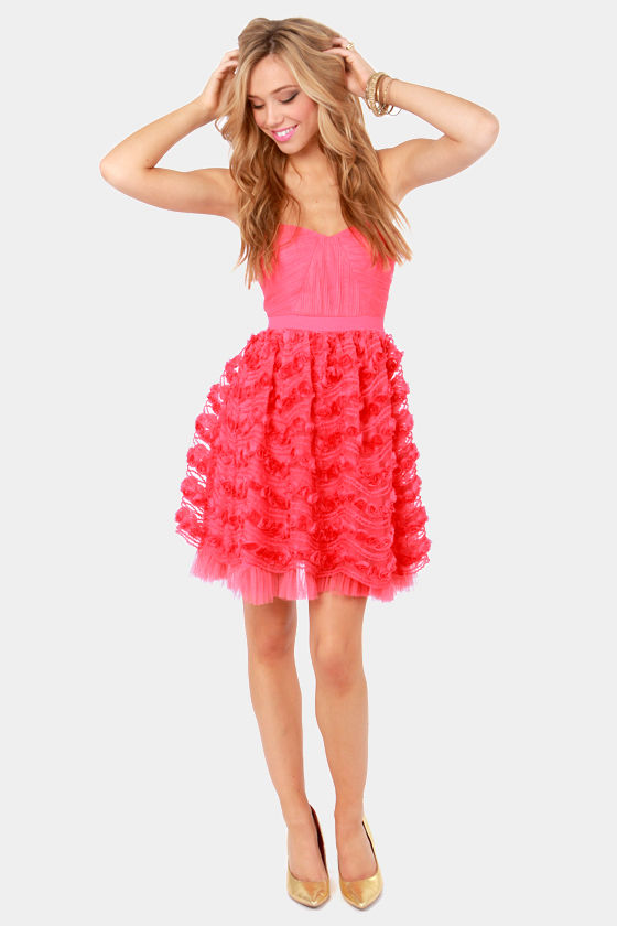 Pretty Coral Pink Dress - Strapless Dress - $88.00