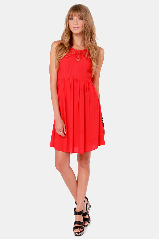 Ladakh Chantilly Lace Red Dress at Lulus.com!