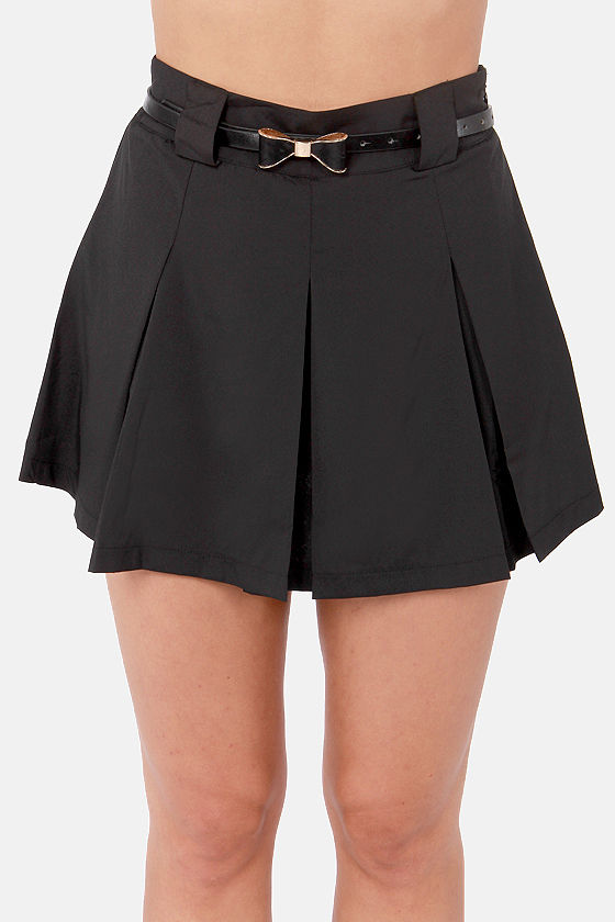 Status Bow Black Belted Skirt at Lulus.com!