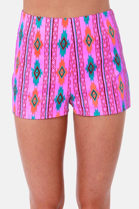 Southwest Quest Purple Print Shorts at Lulus.com!