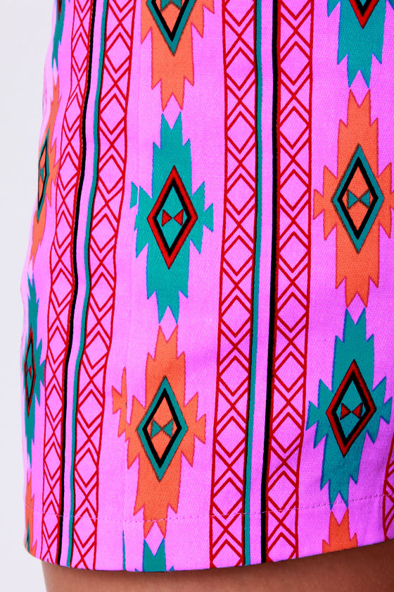 Southwest Quest Purple Print Shorts at Lulus.com!