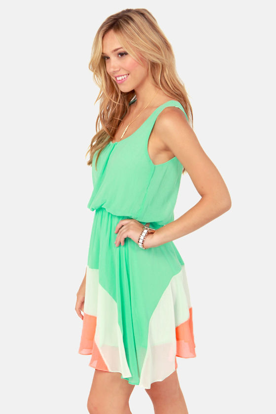 The Crest is History Mint Color Block Dress at Lulus.com!