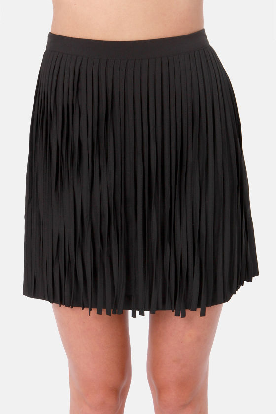 Girl's Best Fringe Black Fringe Skirt at Lulus.com!