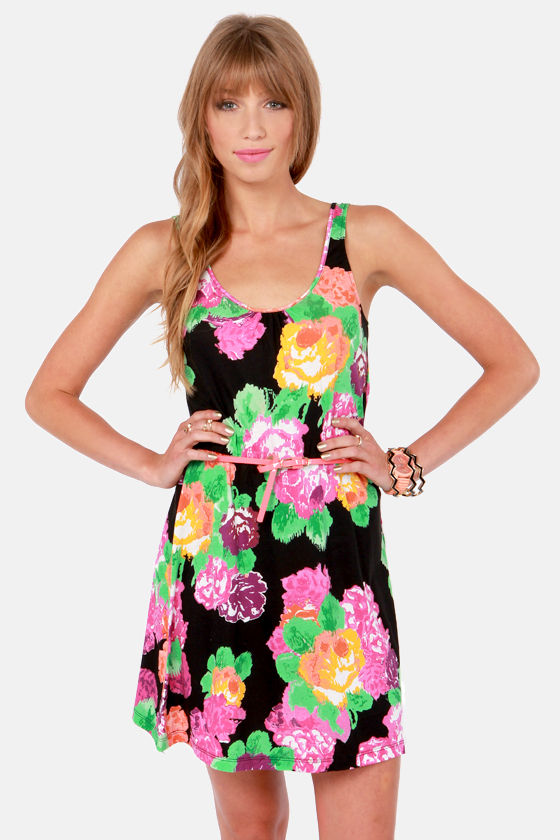 Volcom Mystery Zone Black Floral Print Dress at Lulus.com!