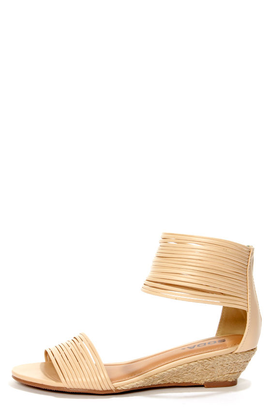 Soda Opus Nude Strappy Ankle Cuff Wedge Sandals at Lulus.com!