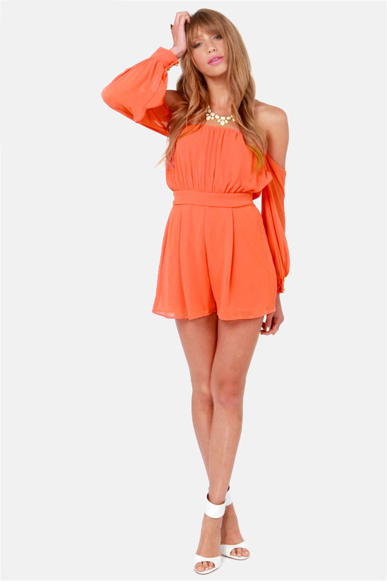 LULUS Exclusive Sheer-y Bomb Orange Romper at Lulus.com!