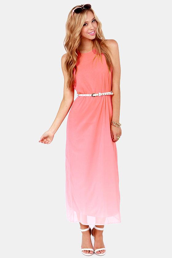 Cute Coral Pink Dress - Maxi Dress - Ombre Dress - $58.00