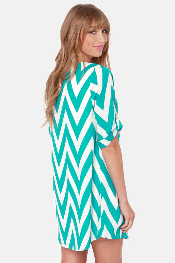 Can You Zig It? Teal Chevron Print Dress at Lulus.com!