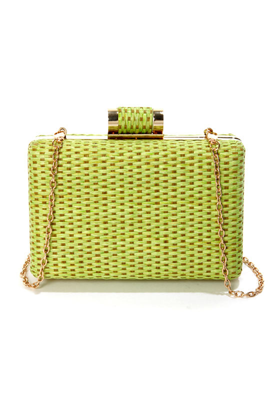 Seeing is Be-weaving Woven Green Clutch at Lulus.com!