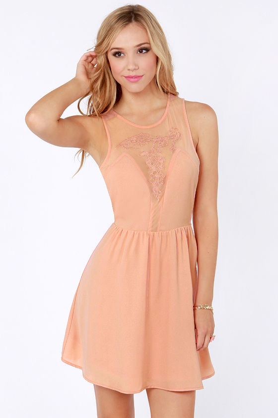Pretty Embroidered Dress - Skater Dress - Peach Dress - $49.00
