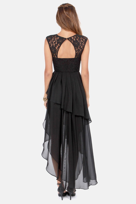 Cascade This Way High-Low Black Lace Dress at Lulus.com!