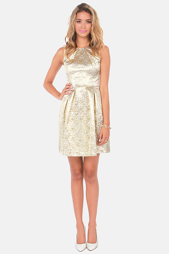 Brocade of Honor Gold Brocade Dress at Lulus.com!