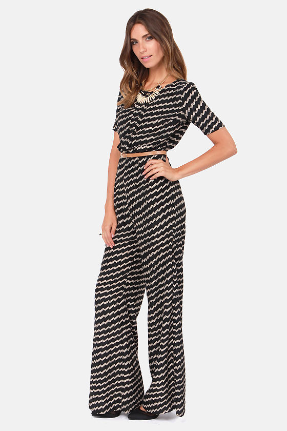 So Inclined Black Print Jumpsuit at Lulus.com!