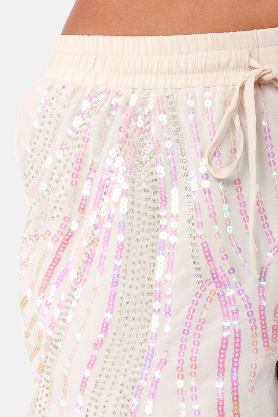 Stardust Cream Sequin Shorts at Lulus.com!