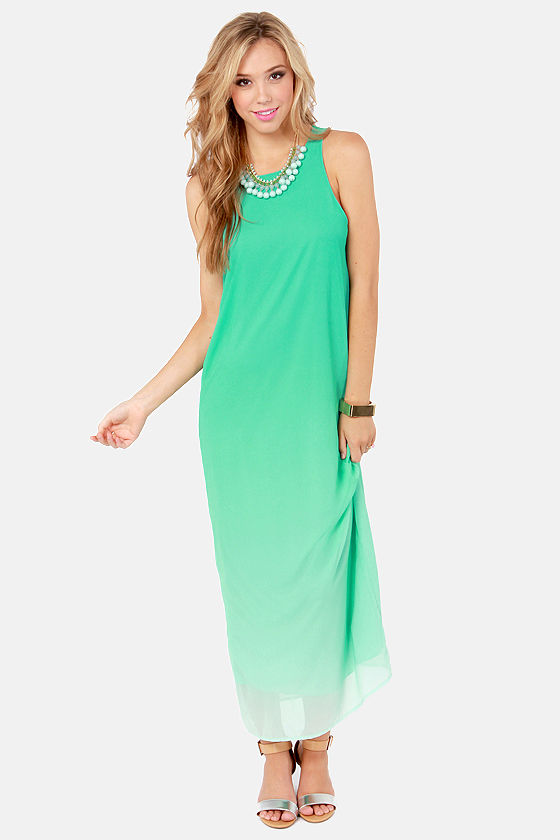 Far and Ombre Mint Green Maxi Dress