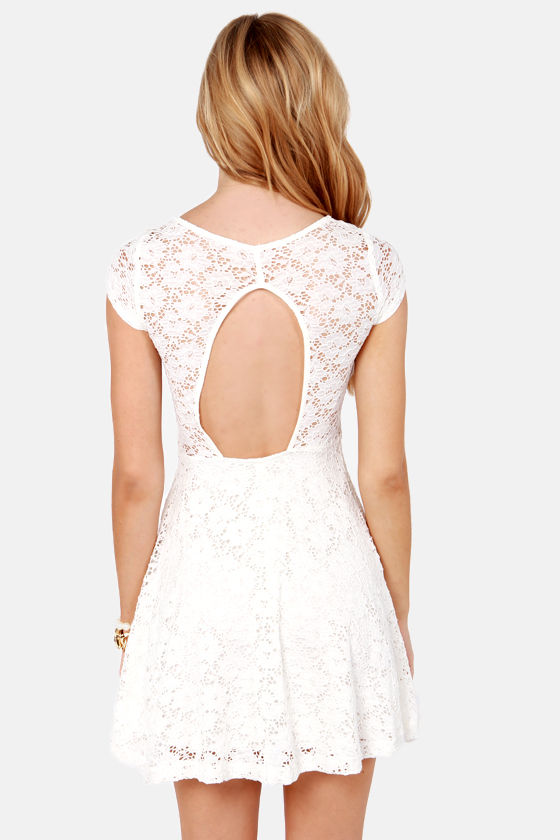 Lace Canon Backless Ivory Lace Dress at Lulus.com!