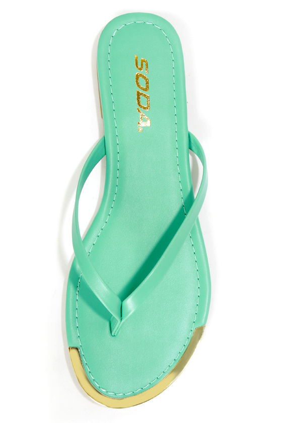 Soda Union Aqua Gold-Tipped Thong Sandals at Lulus.com!
