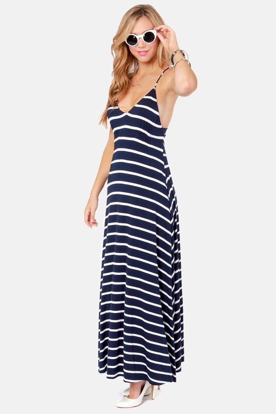 Wilshire Boulevard Navy Blue and White Striped Maxi Dress at Lulus.com!