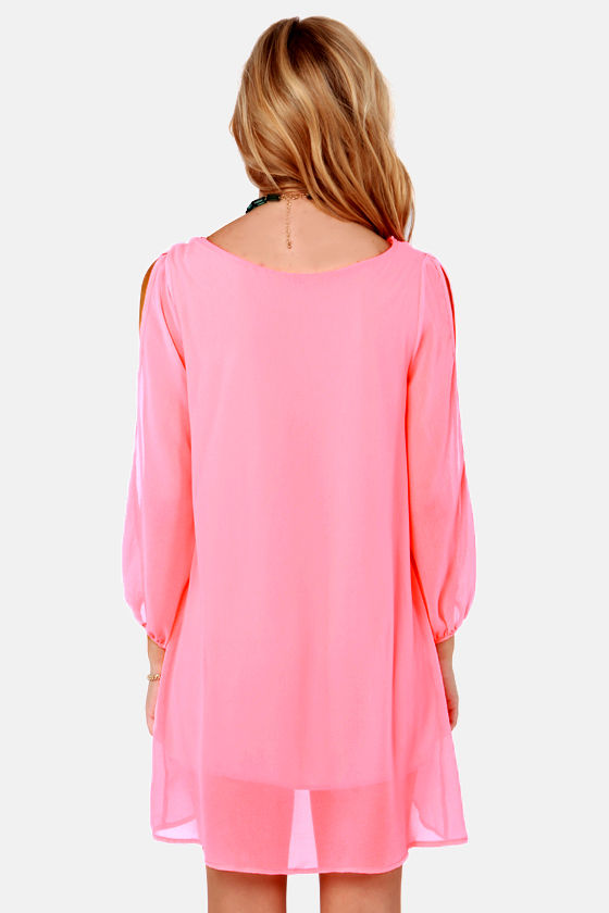 LULUS Exclusive Shifting Dears Neon Pink Long Sleeve Dress at Lulus.com!