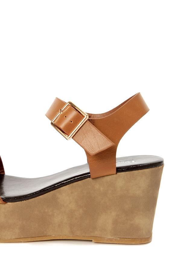 Stino 1 Tan Single Strap Flatform Wedge Sandals at Lulus.com!
