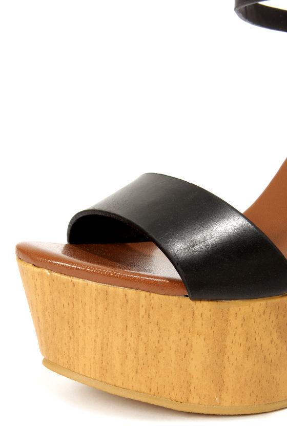 Hottie 2 Black Platform Wedge Sandals at Lulus.com!
