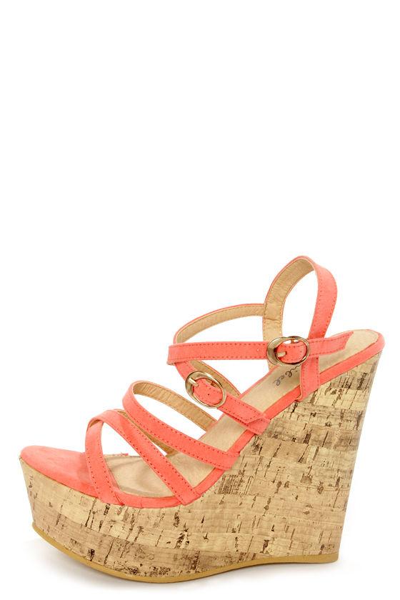 091422c94f15 Amya 1 Coral Strappy Platform Wedge Sandals -  34.00