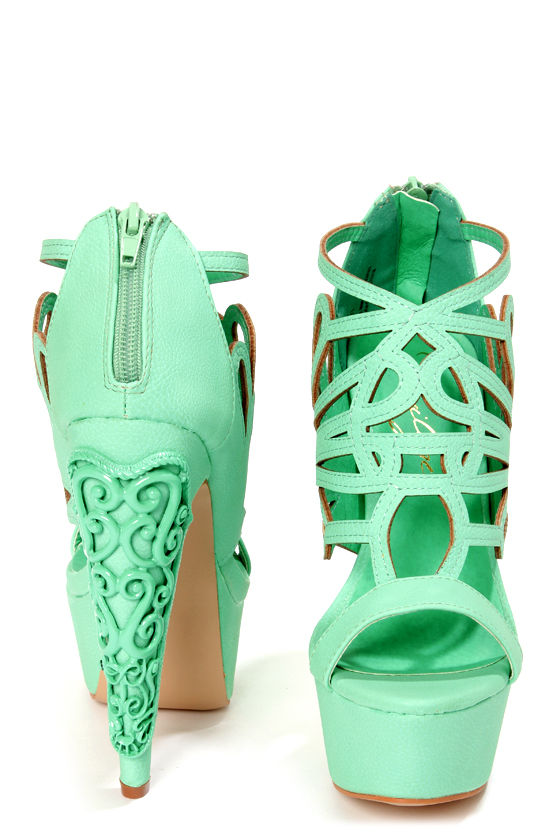 Privileged Alti Seafoam Caged Cutout Platform High Heels at Lulus.com!