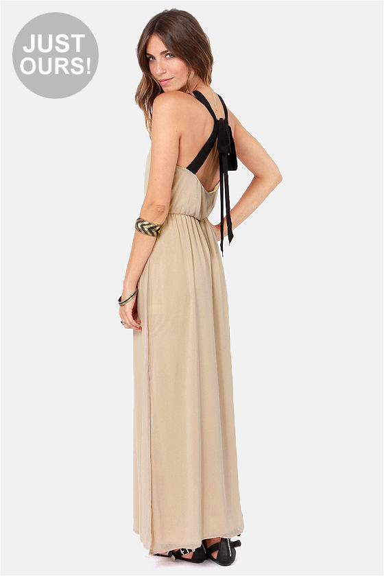 LULUS Exclusive Slit to be Tied Beige Maxi Dress at Lulus.com!