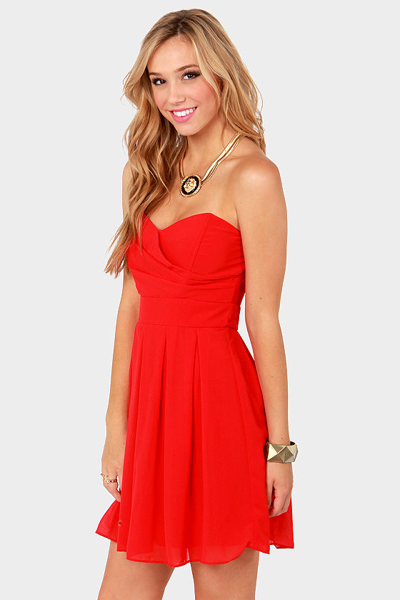 TFNC Elida Dress - Strapless Dress - Red Dress - $75.00