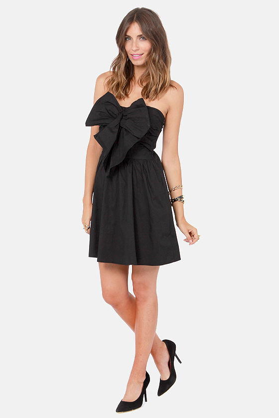 Reverse Winning Peek Strapless Black Dress at Lulus.com!