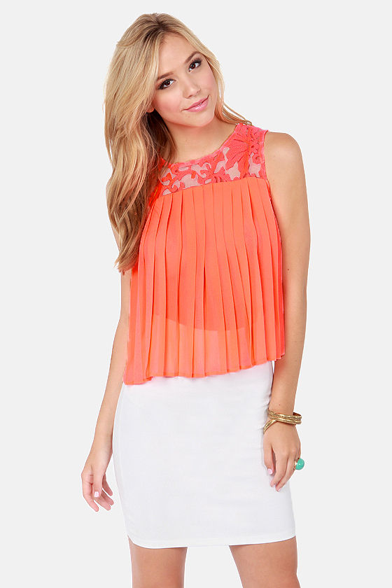 Bright Future Pleated Neon Coral Top at Lulus.com!