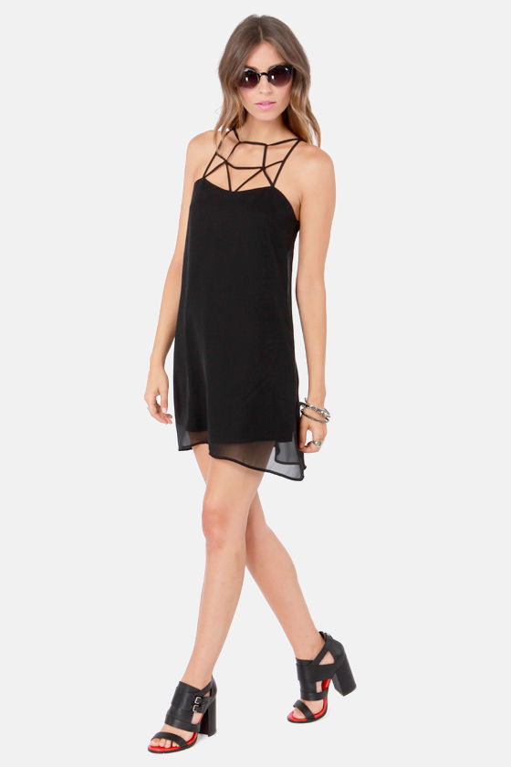 Rattle Your Cage Black Dress at Lulus.com!