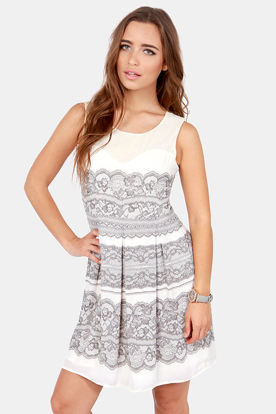 Print-cess Diaries Cream Lace Print Dress at Lulus.com!
