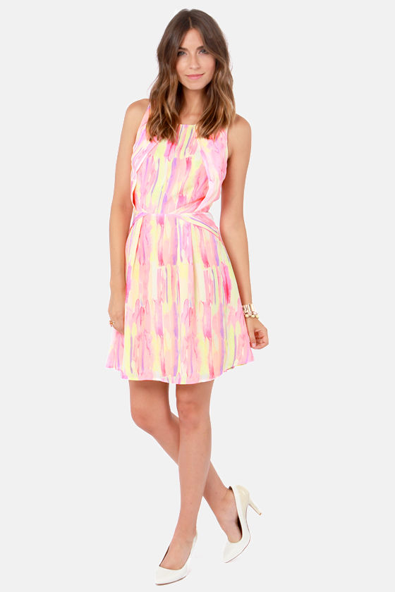 Let Her Drip! Pink Print Dress at Lulus.com!
