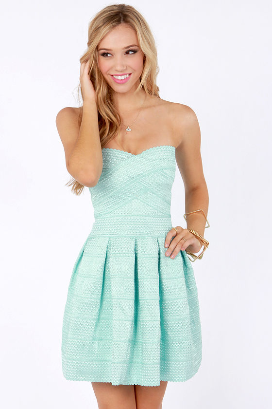 Cute Strapless Dress - Mint Blue Dress - Bandage Dress - $59.00