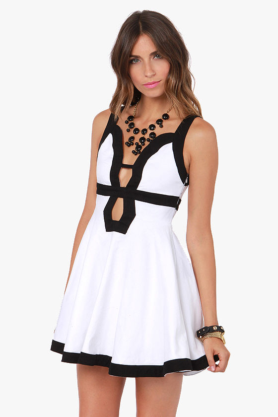 Forget-Me-Not Dress - Cutout Dress - Black and White Dress - $79.00