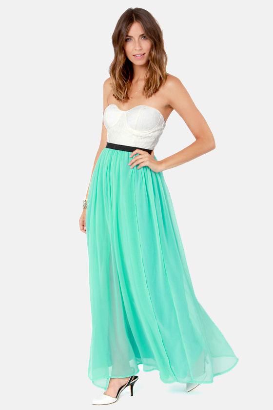 49d8c407060 Island Hopper Ivory and Aqua Strapless Maxi Dress -  84   Fashion at  Lulus.com