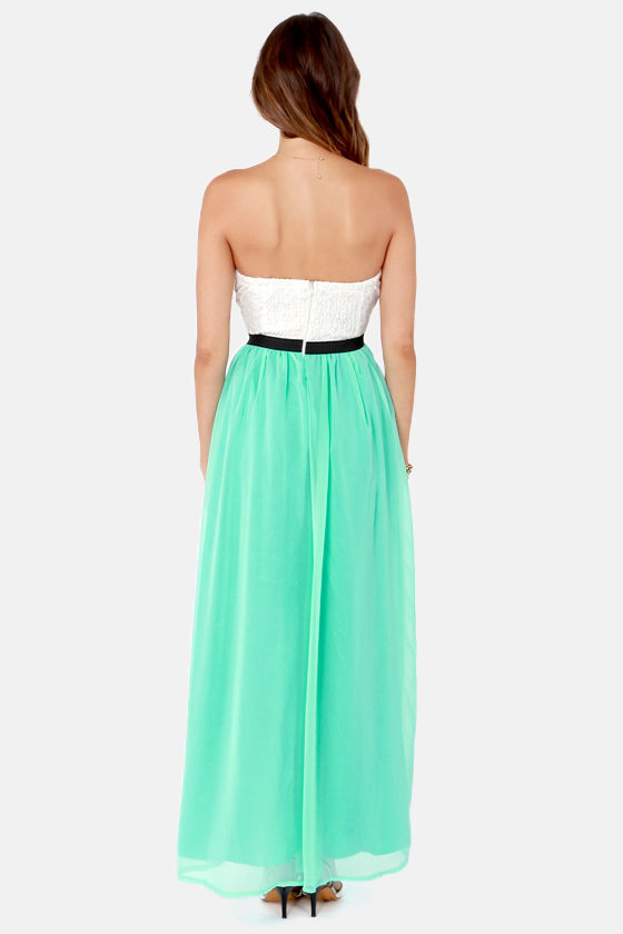 Island Hopper Ivory and Aqua Strapless Maxi Dress at Lulus.com!