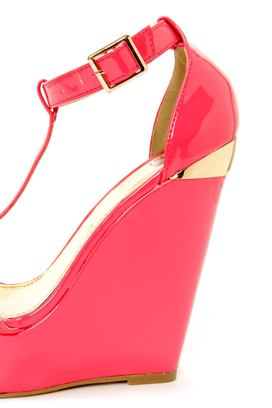 My Delicious Twice Salmon Patent T-Strap Platform Wedges at Lulus.com!