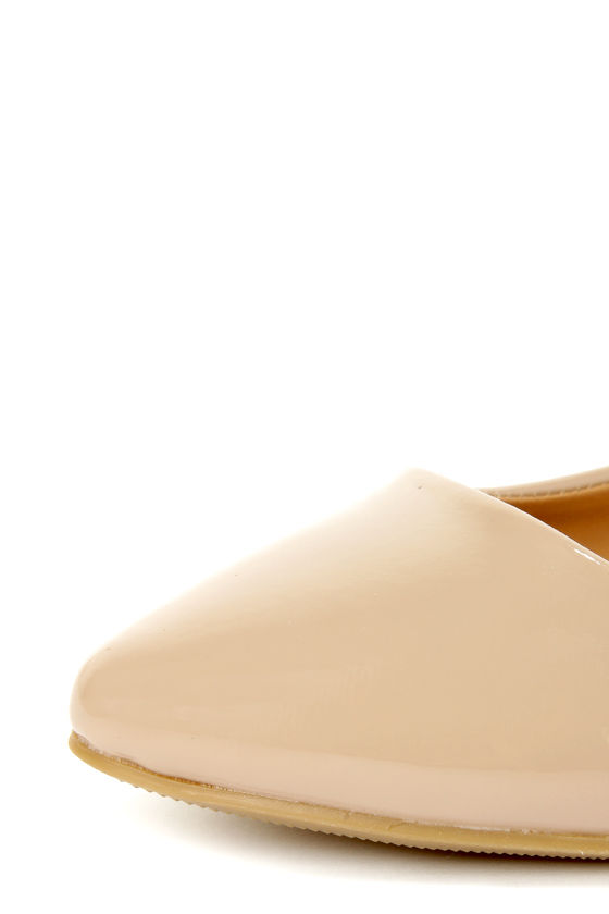 City Classified Sadler Dark Beige Patent Pointed Flats at Lulus.com!